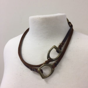 Handmade Leather Stirrup Necklace, Long Necklace, Horse Shop
