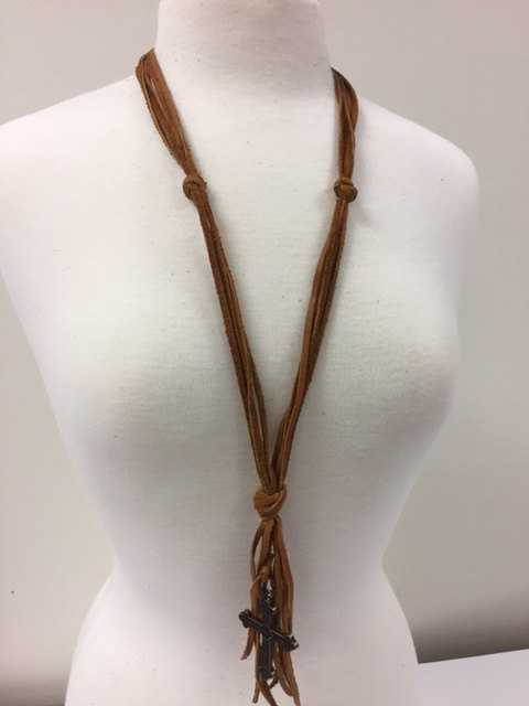 Handmade Leather Cross Necklace, Equestrian Horse Tack Store