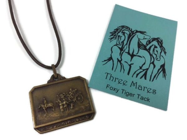 Vintage Brass Medal Necklace, Horse Shop Accessories
